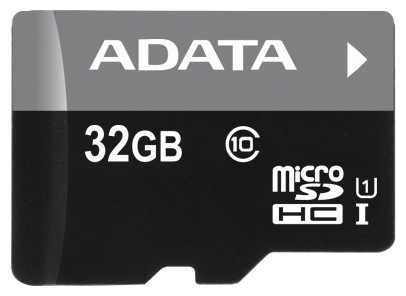 Флеш карта microSDHC 32Gb Class10 A-Data AUSDH32GUICL10-RA1 + adapter фото 1 — frontime
