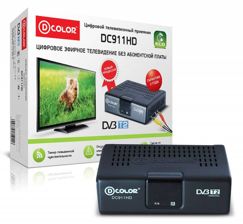Ресивер DVB-T2 D-Color DC911HD ECO черный фото 1 — FRONTIME.RU